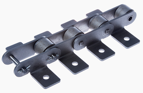 Solid pin bush conveyer chain acc. to DIN 8167 with guide rollers and mounting brackets
